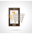 Mobile purchase flat color icon vector image