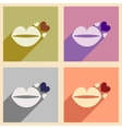 Set of flat web icons with long shadow lip heart vector image