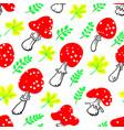 amanita seamless pattern mushroom background with vector image