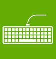 black computer keyboard icon green vector image