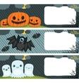 Happy Halloween card set with pumpkin bat ghost vector image