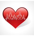 Heartbeat make family icon inside the heart symbol vector image