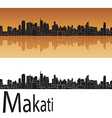 Makati skyline in orange background vector image