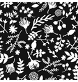 Seamless vintage black and white floral pattern vector image