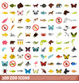 100 zoo icons set flat style vector image