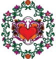Valentine card decor Heart with flowers vector image vector image
