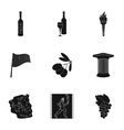 Greece set icons in black style Big collection of vector image