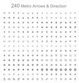Monotone metro arrows and direction vector image vector image