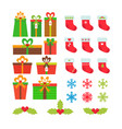 christmas icons set gift boxes snowflakes holly vector image