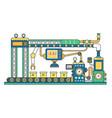 industrial conveyor belt machine and manufacture vector image