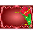 Red tulips with yellow ribbon are on red vector image vector image