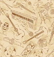 Seamless pattern of musical instruments vector image