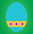 Blue easter egg with pink flower in yellow tag on vector image vector image