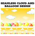 Seamless cloud and balloon design vector image