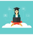Graduate sitting on cloud vector image