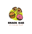 funny cartoon style snack bar logo with vector image