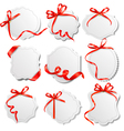 set of labels with redd bows and ribbons vector image