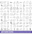 100 farm icons set outline style vector image