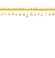 Golden snowflake border with hanging vector image