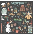 Winteer doodle iconselementsColored kit vector image