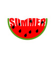 Watermelon summer emblem piece of red fruit logo vector image
