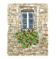 old house and window painting vector image
