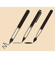 Set of pens and brush vector image