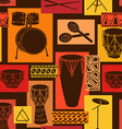 Musical seamless pattern of drum set vector image