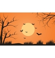 At afternoon bat flying scenery silhouette vector image