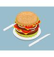 Hamburger isometrics 3D Fast food on plate Cutlery vector image