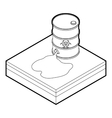 Toxic waste spilling from barrel icon vector image