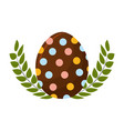 egg easter with branches plant decorative vector image