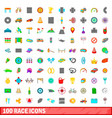 100 race icons set cartoon style vector image