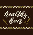 hand drawn lettering - healthy hair elegant vector image vector image