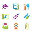 icon set education and science color vector image