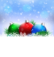 Christmas balls with pine and blank space on blue vector image