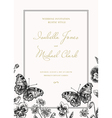 Invitation with butterflies and flowers vintage st vector image