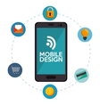 mobile design connection media social icons vector image