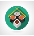 Sushi set green round icon vector image