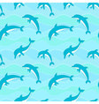 seamless pattern with dolphins on waves background vector image