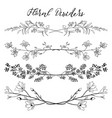black dividers with branches plants and vector image