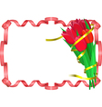 Red tulips with yellow and red ribbons are on vector image