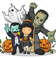 Witch Vampire Frankenstein Ghost Pumpkin Greeting vector image