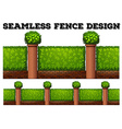 Seamless fence design with green bushes vector image