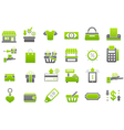 Store green gray icons set vector image vector image