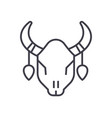 bull skull line icon sign on vector image