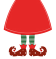 Cute christmas elf legs with skirt - red vector image