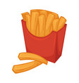 delicious french fries in red smooth cardboard vector image