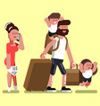 family with two kids at airport vector image