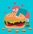 love burger junknfood lover delicious meat tasty vector image
